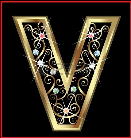 16220130-v-gold-letter-with-swirly-ornaments-l